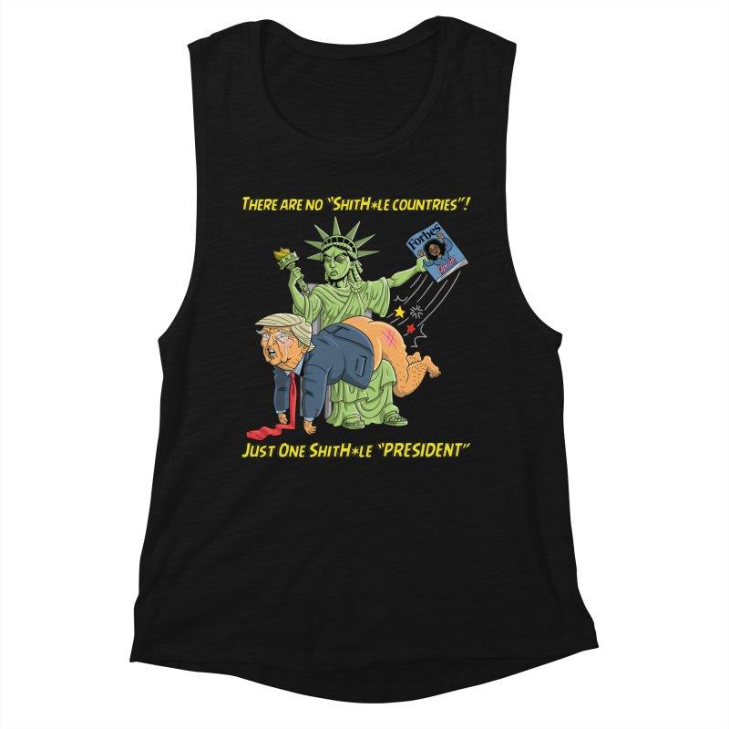 Bad SHITHOLE President! Women's Muscle Tank by Frankenstein's Artist Shop