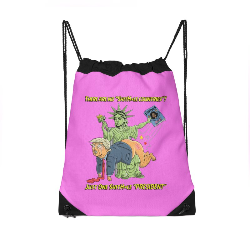 Bad SHITHOLE President! Accessories Drawstring Bag Bag by Frankenstein's Artist Shop