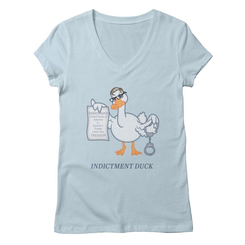 Indictment Duck Women's Regular V-Neck by Frankenstein's Artist Shop