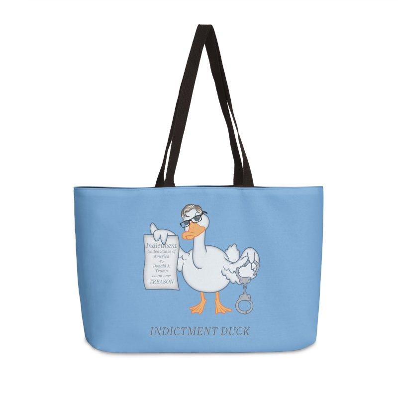 Indictment Duck Accessories Weekender Bag Bag by Frankenstein's Artist Shop