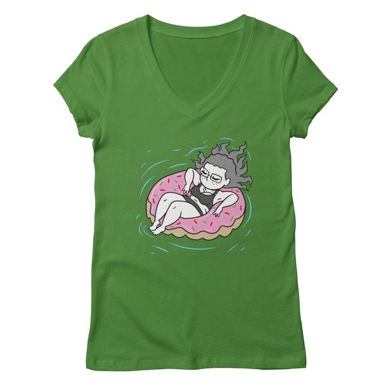 Donut Disturb! Women's Regular V-Neck by Frankenstein's Artist Shop