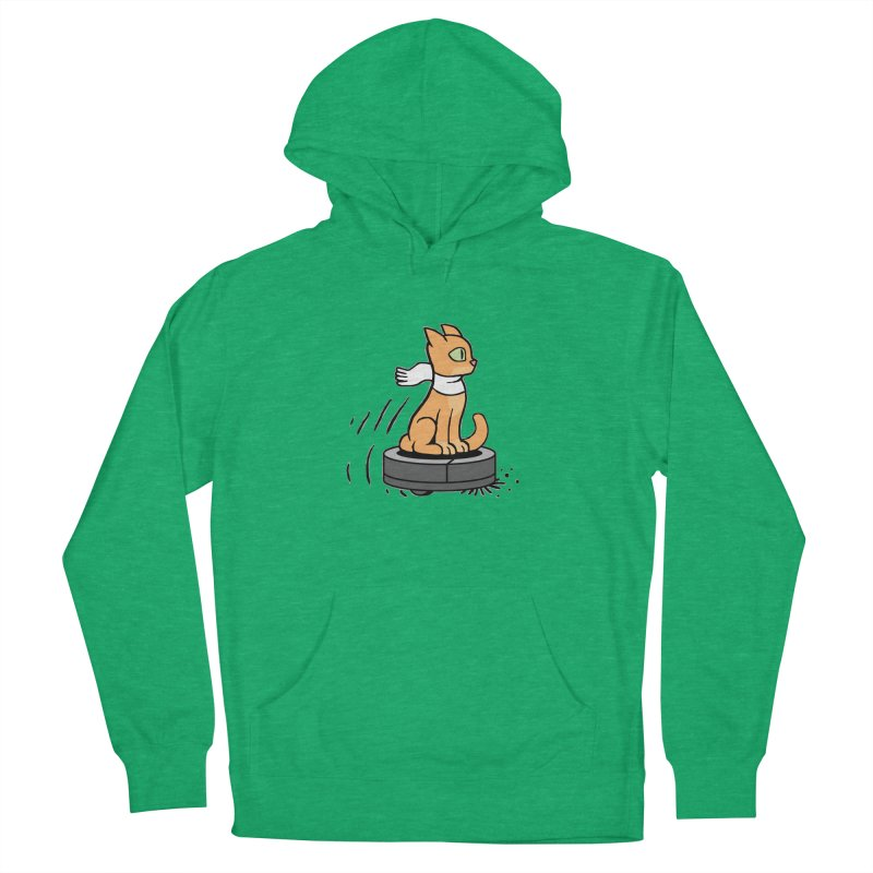 Cat on Robot Vacuum Men's French Terry Pullover Hoody by Frankenstein's Artist Shop