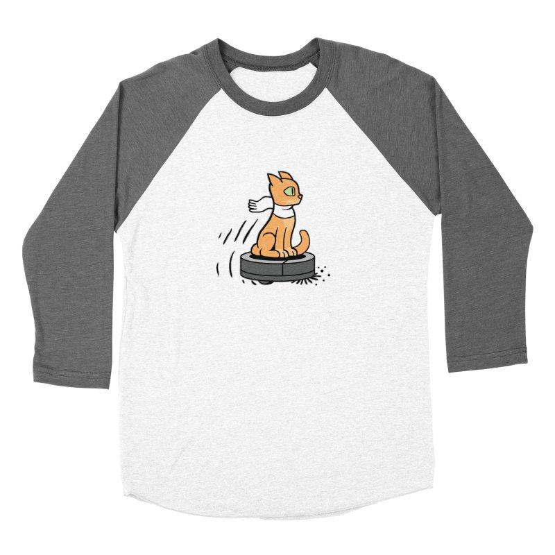 Cat on Robot Vacuum Women's Longsleeve T-Shirt by Frankenstein's Artist Shop