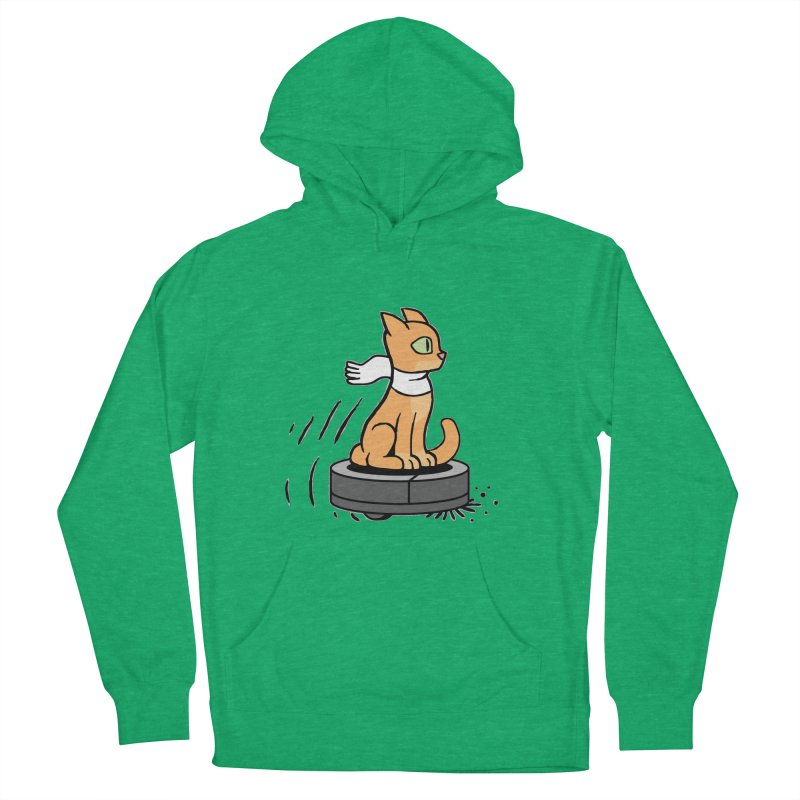 Cat on Robot Vacuum Women's French Terry Pullover Hoody by Frankenstein's Artist Shop
