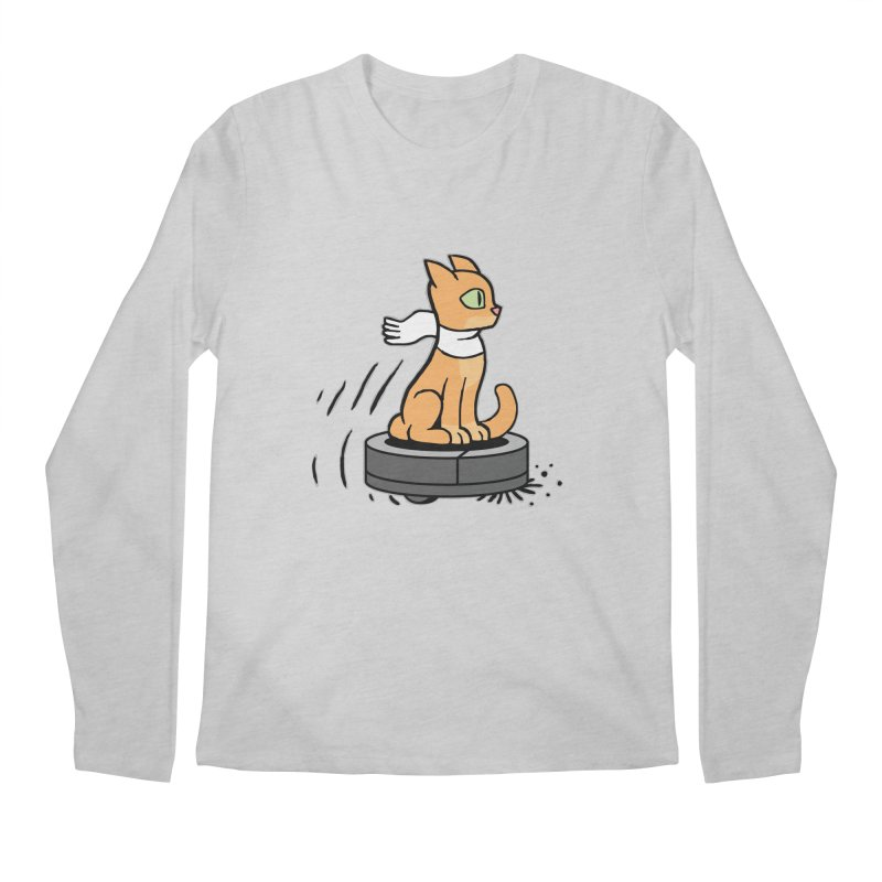 Cat on Robot Vacuum Men's Regular Longsleeve T-Shirt by Frankenstein's Artist Shop