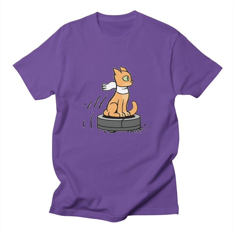 Cat on Robot Vacuum Women's Regular Unisex T-Shirt by Frankenstein's Artist Shop