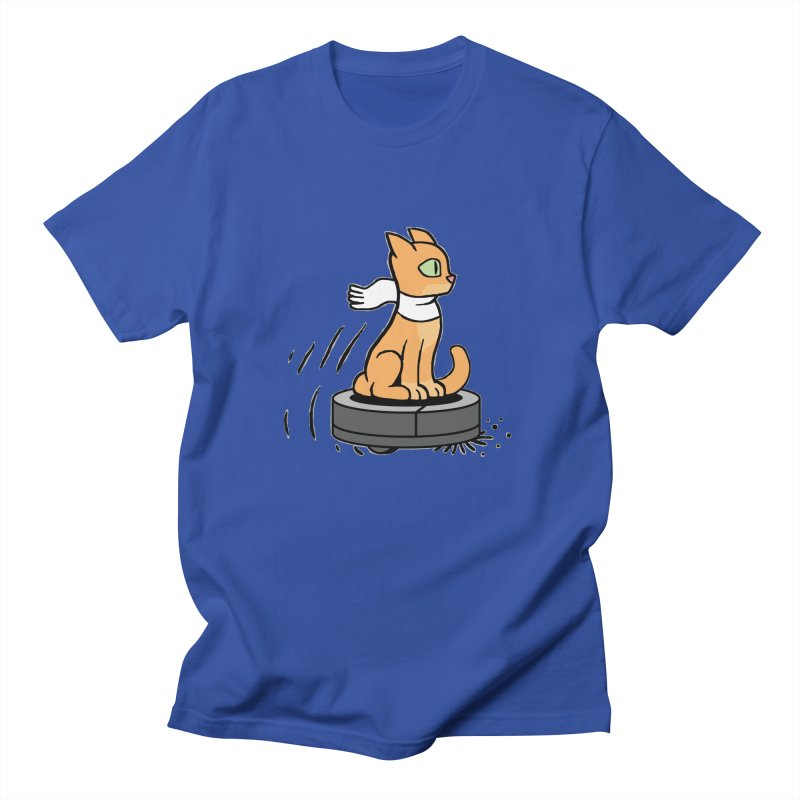 Cat on Robot Vacuum Men's Regular T-Shirt by Frankenstein's Artist Shop