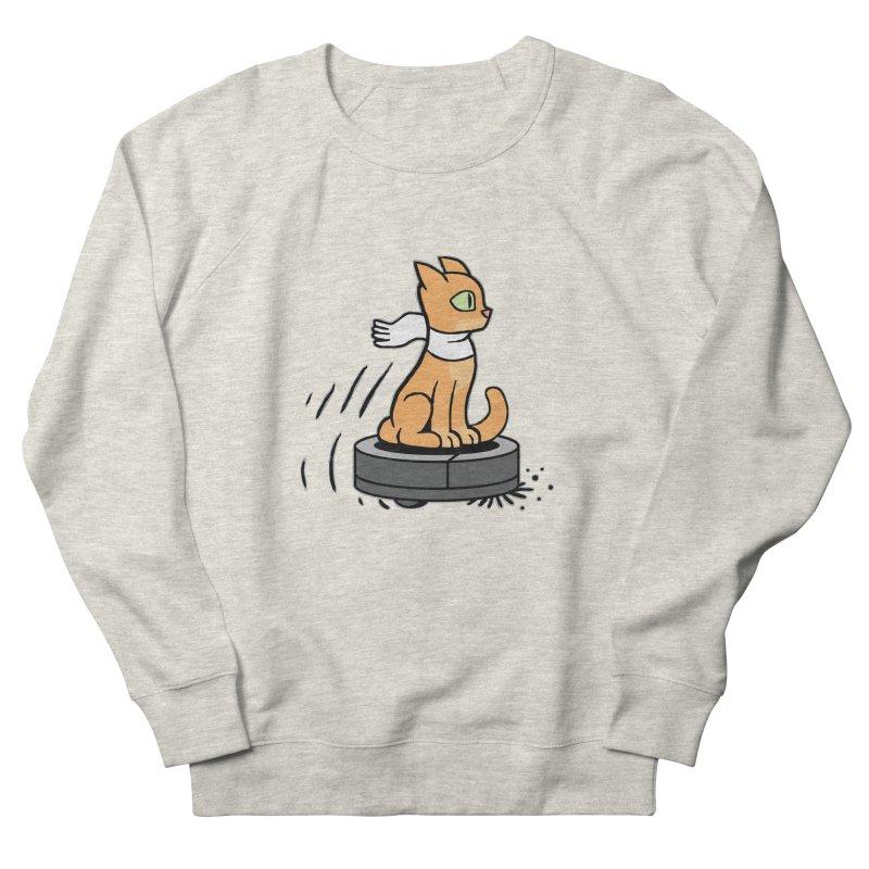 Cat on Robot Vacuum Women's French Terry Sweatshirt by Frankenstein's Artist Shop