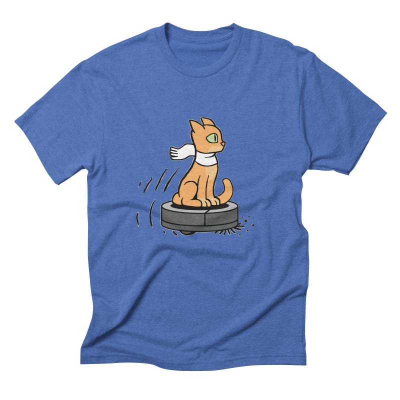 Cat on Robot Vacuum Men's Triblend T-Shirt by Frankenstein's Artist Shop