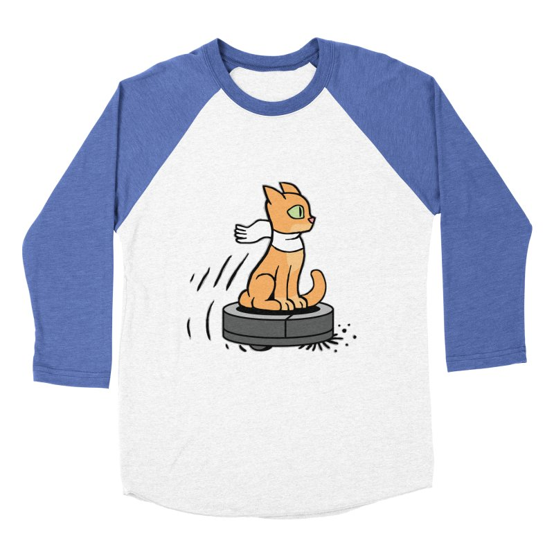 Cat on Robot Vacuum Women's Baseball Triblend Longsleeve T-Shirt by Frankenstein's Artist Shop