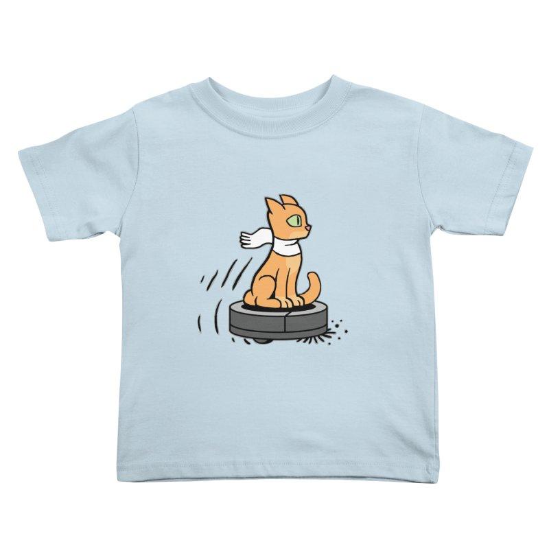 Cat on Robot Vacuum Kids Toddler T-Shirt by Frankenstein's Artist Shop
