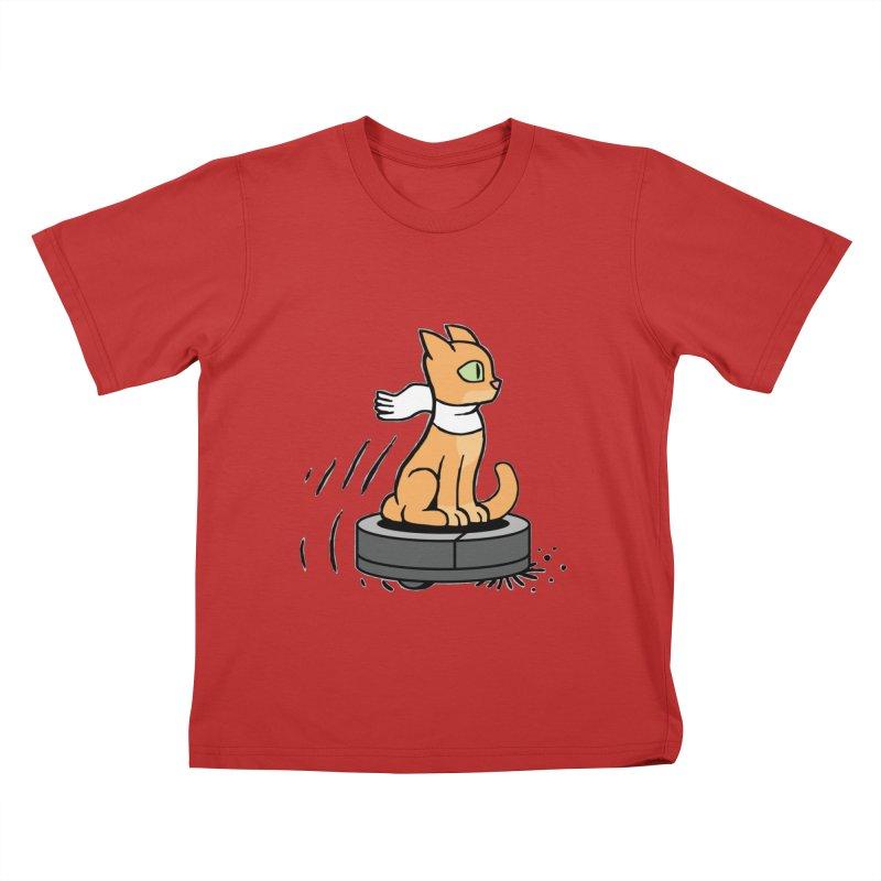 Cat on Robot Vacuum Kids T-Shirt by Frankenstein's Artist Shop