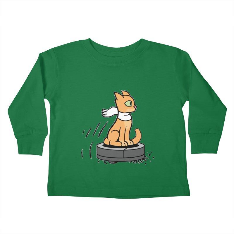 Cat on Robot Vacuum Kids Toddler Longsleeve T-Shirt by Frankenstein's Artist Shop