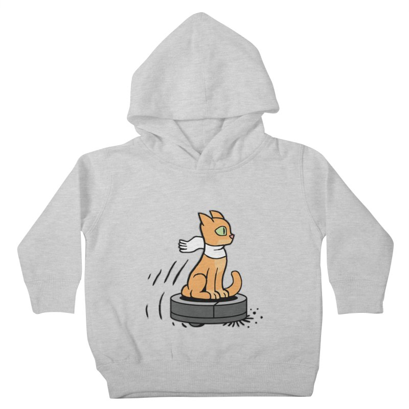 Cat on Robot Vacuum Kids Toddler Pullover Hoody by Frankenstein's Artist Shop