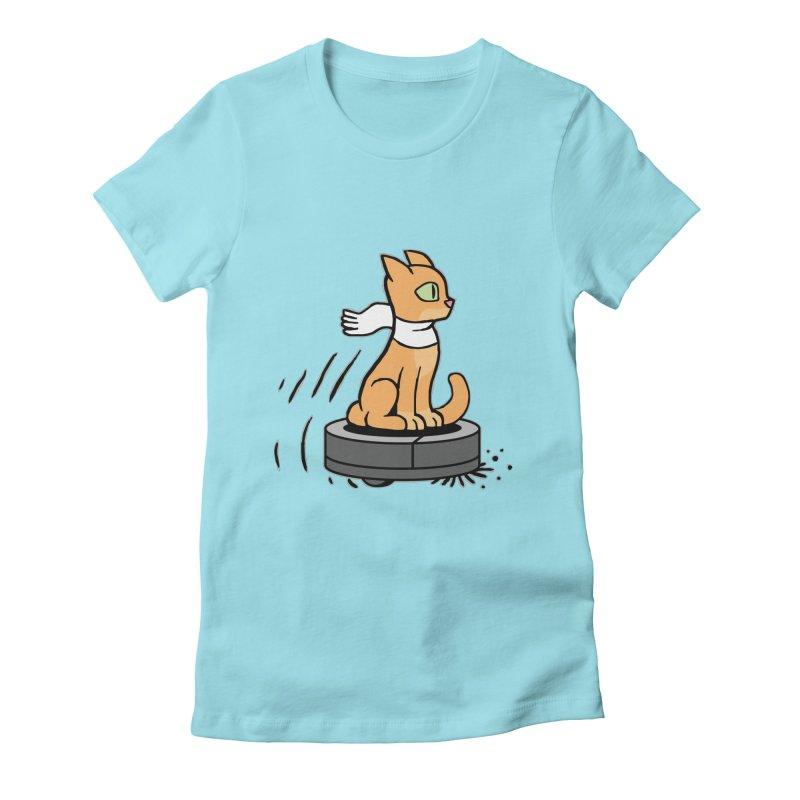 Cat on Robot Vacuum Women's T-Shirt by Frankenstein's Artist Shop