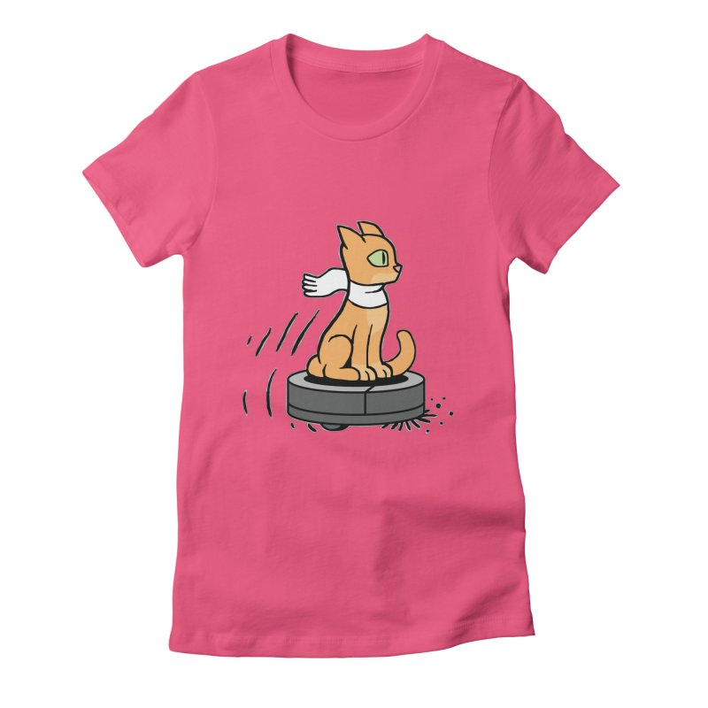 Cat on Robot Vacuum Women's Fitted T-Shirt by Frankenstein's Artist Shop