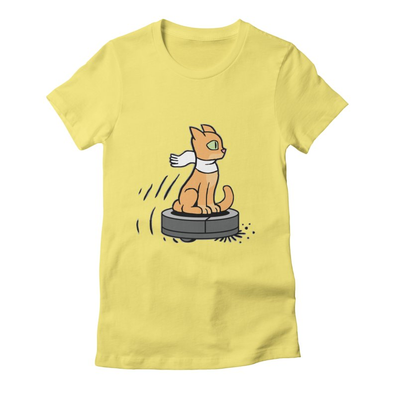 Cat on Robot Vacuum Women's T-Shirt by Frankenstein's Artist Shop