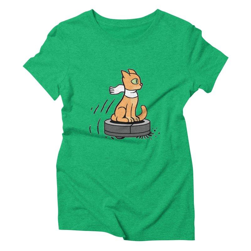 Cat on Robot Vacuum Women's Triblend T-Shirt by Frankenstein's Artist Shop