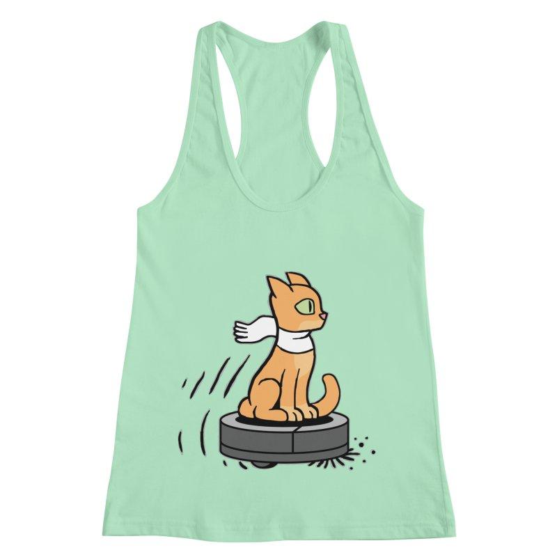 Cat on Robot Vacuum Women's Racerback Tank by Frankenstein's Artist Shop