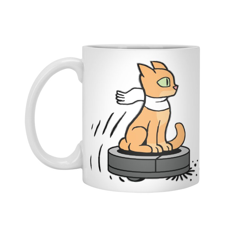 Cat on Robot Vacuum Accessories Standard Mug by Frankenstein's Artist Shop