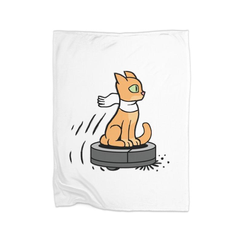 Cat on Robot Vacuum Home Fleece Blanket Blanket by Frankenstein's Artist Shop