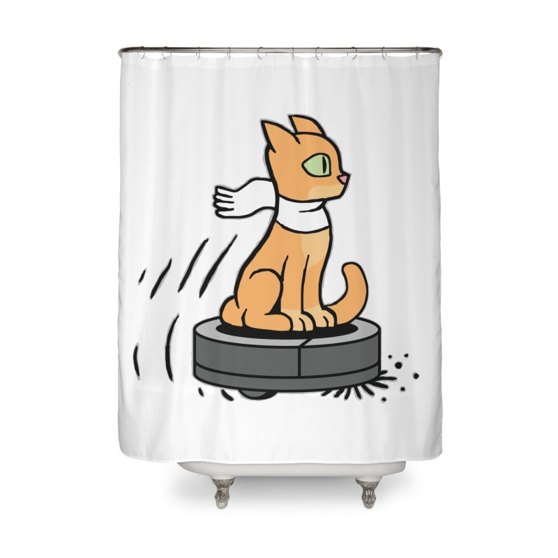 Cat on Robot Vacuum Home Shower Curtain by Frankenstein's Artist Shop