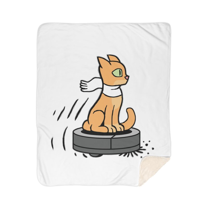 Cat on Robot Vacuum Home Sherpa Blanket Blanket by Frankenstein's Artist Shop