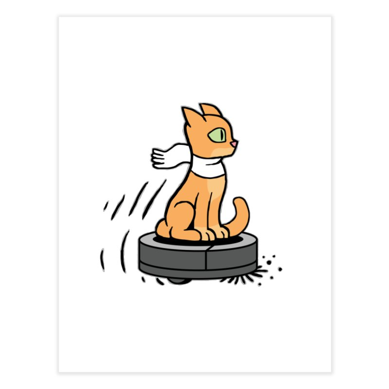 Cat on Robot Vacuum Home Fine Art Print by Frankenstein's Artist Shop
