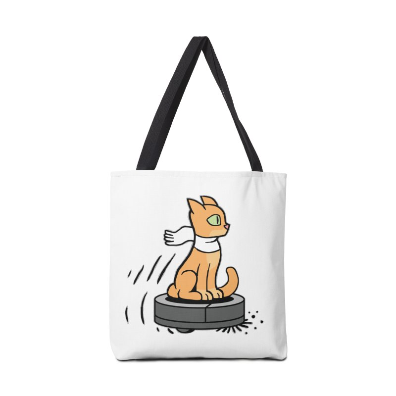 Cat on Robot Vacuum Accessories Tote Bag Bag by Frankenstein's Artist Shop