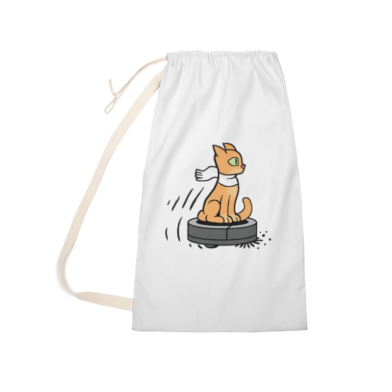 Cat on Robot Vacuum Accessories Laundry Bag Bag by Frankenstein's Artist Shop