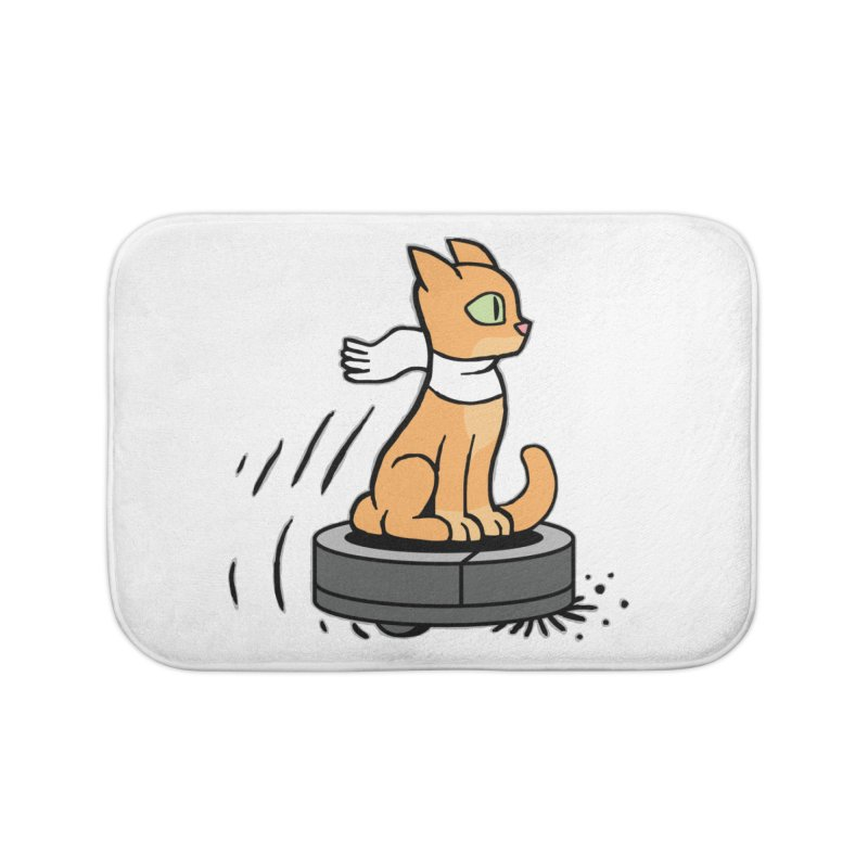 Cat on Robot Vacuum Home Bath Mat by Frankenstein's Artist Shop