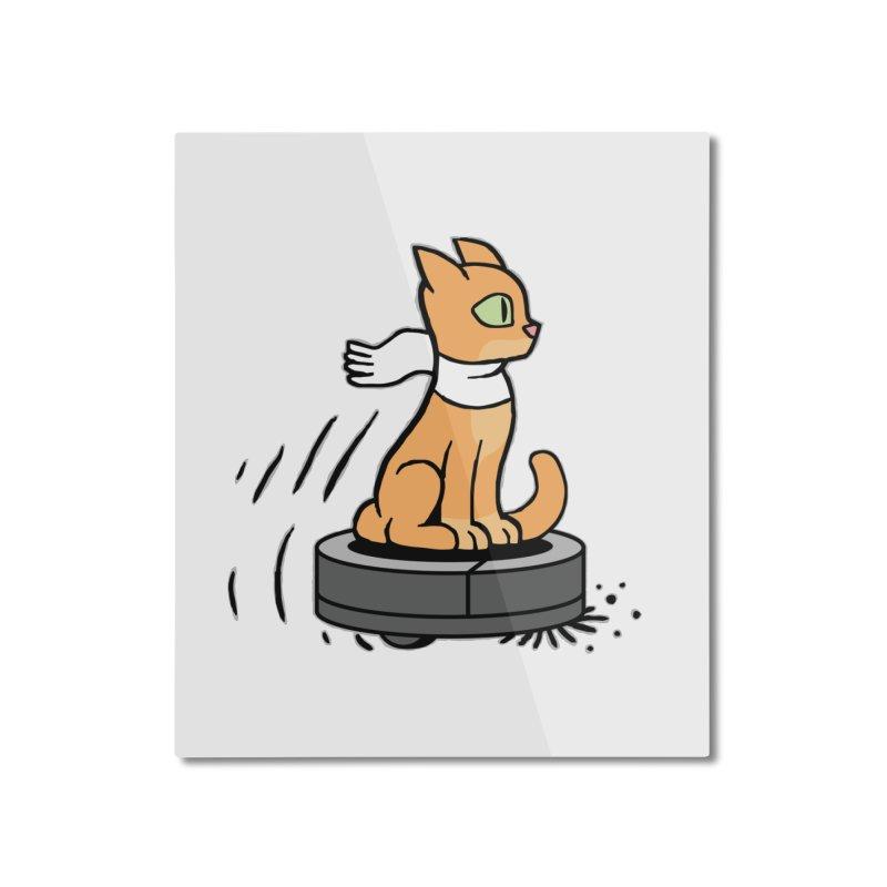 Cat on Robot Vacuum Home Mounted Aluminum Print by Frankenstein's Artist Shop