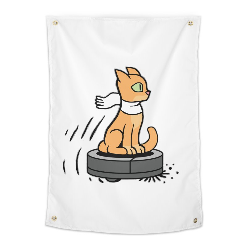 Cat on Robot Vacuum Home Tapestry by Frankenstein's Artist Shop