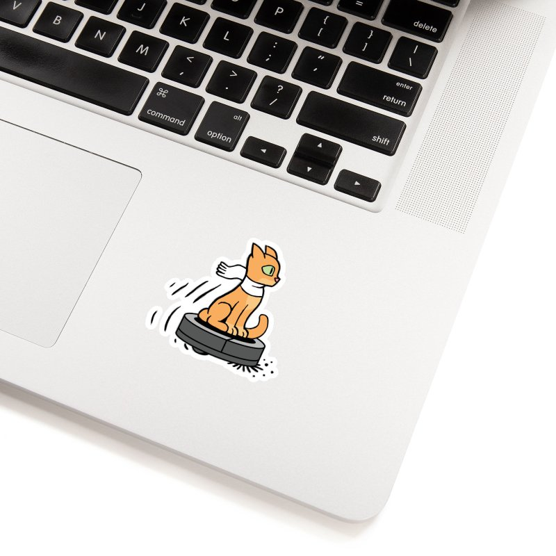 Cat on Robot Vacuum Accessories Sticker by Frankenstein's Artist Shop
