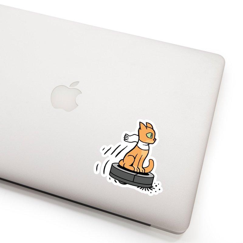 Cat on Robot Vacuum Accessories Sticker by Frankenstein's Artist Shop