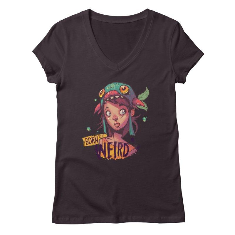 Born to be Weird by Frankentoon Women's Regular V-Neck by Frankentoon Merchandise