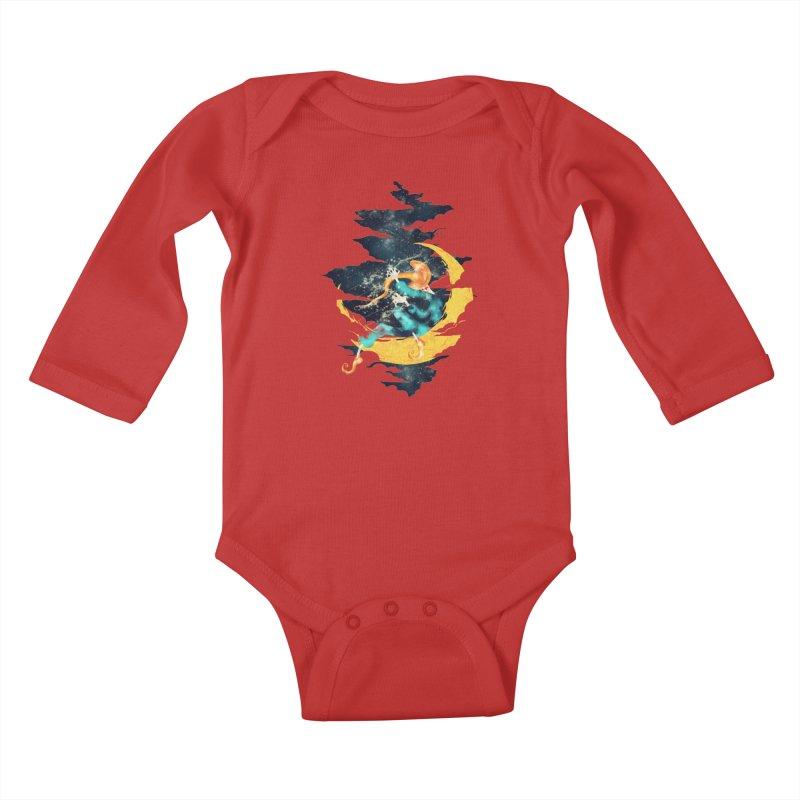 Moon Kids Baby Longsleeve Bodysuit by franklymonkey's Artist Shop