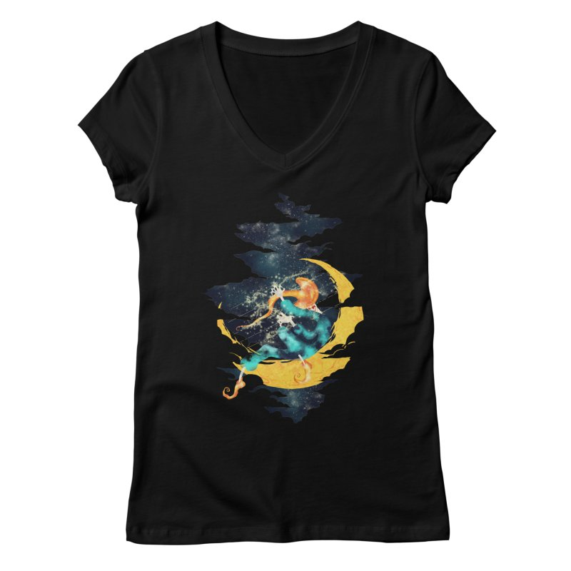 Moon Women's V-Neck by franklymonkey's Artist Shop