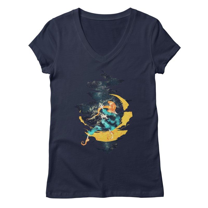 Moon Women's Regular V-Neck by franklymonkey's Artist Shop