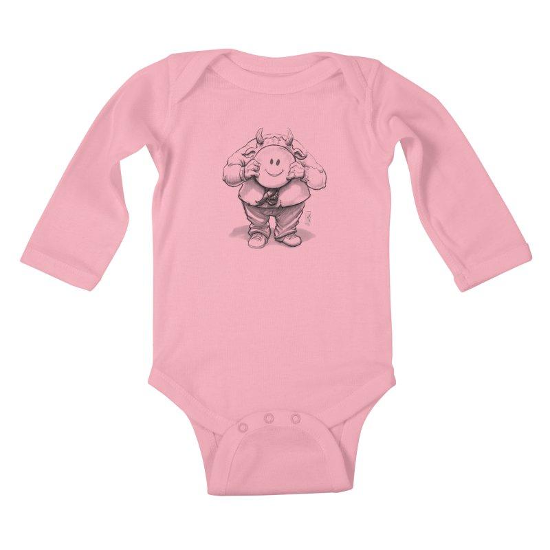 That smiley demon! Kids Baby Longsleeve Bodysuit by Franky Nieves Shop