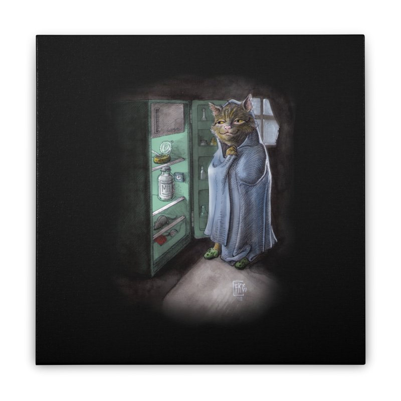 Midnight snack (color edition) Home Stretched Canvas by Franky Nieves Shop