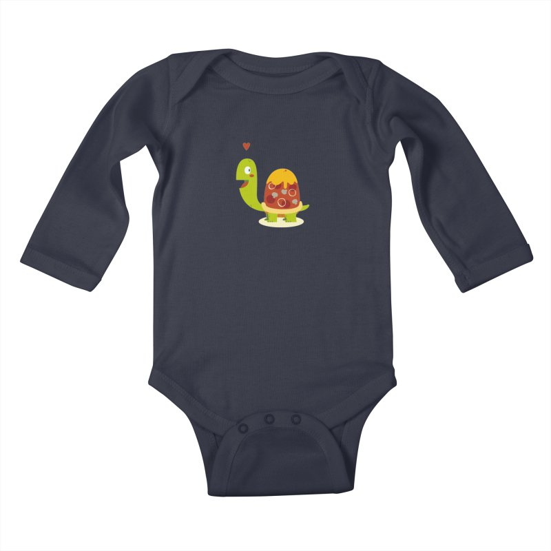 Pizza turtle Kids Baby Longsleeve Bodysuit by frauewert's Artist Shop