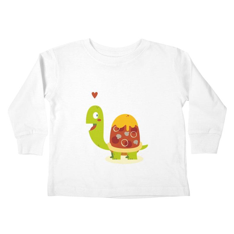 Pizza turtle Kids Toddler Longsleeve T-Shirt by frauewert's Artist Shop