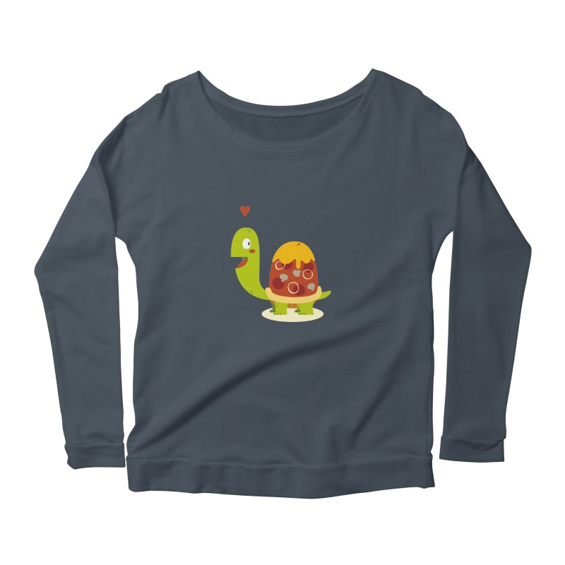 Pizza turtle Women's Longsleeve Scoopneck  by frauewert's Artist Shop