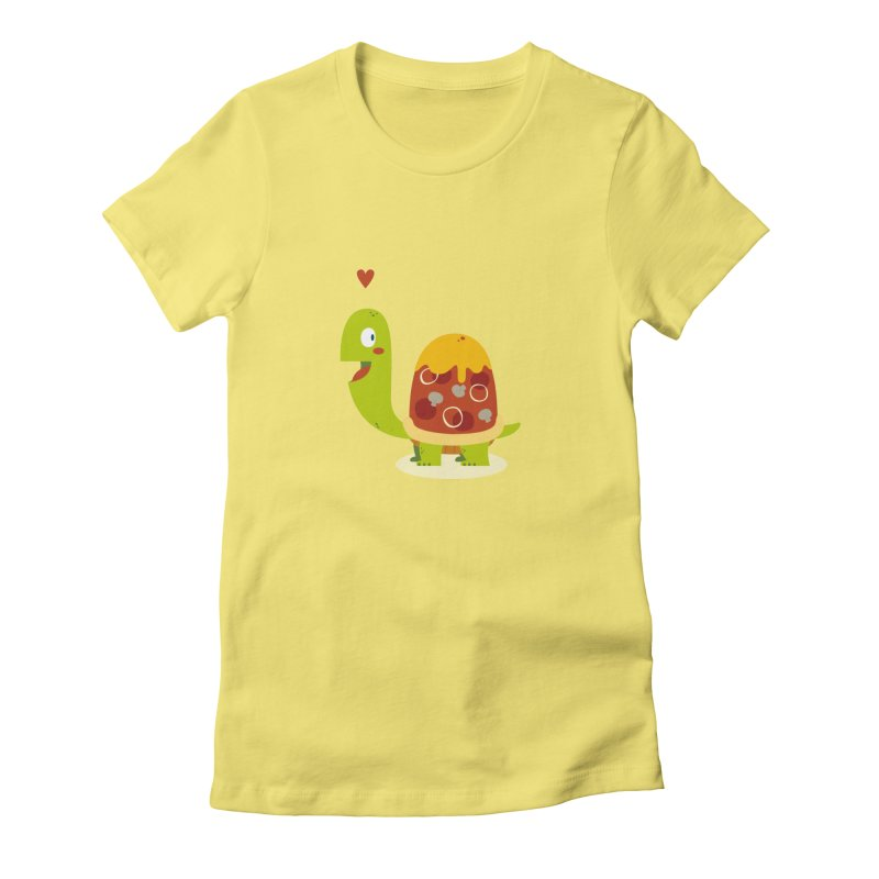 Pizza turtle Women's Fitted T-Shirt by frauewert's Artist Shop