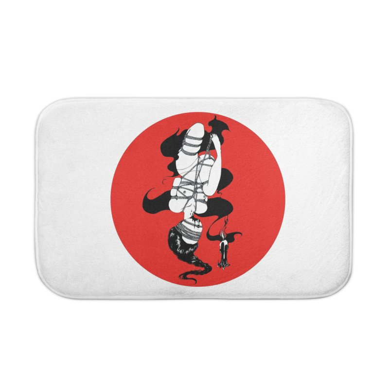 human with red Home Bath Mat by FredRx's Artist Shop