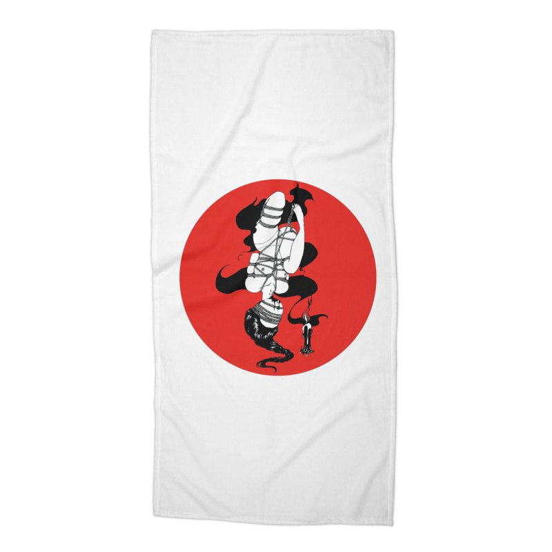 human with red Accessories Beach Towel by FredRx's Artist Shop