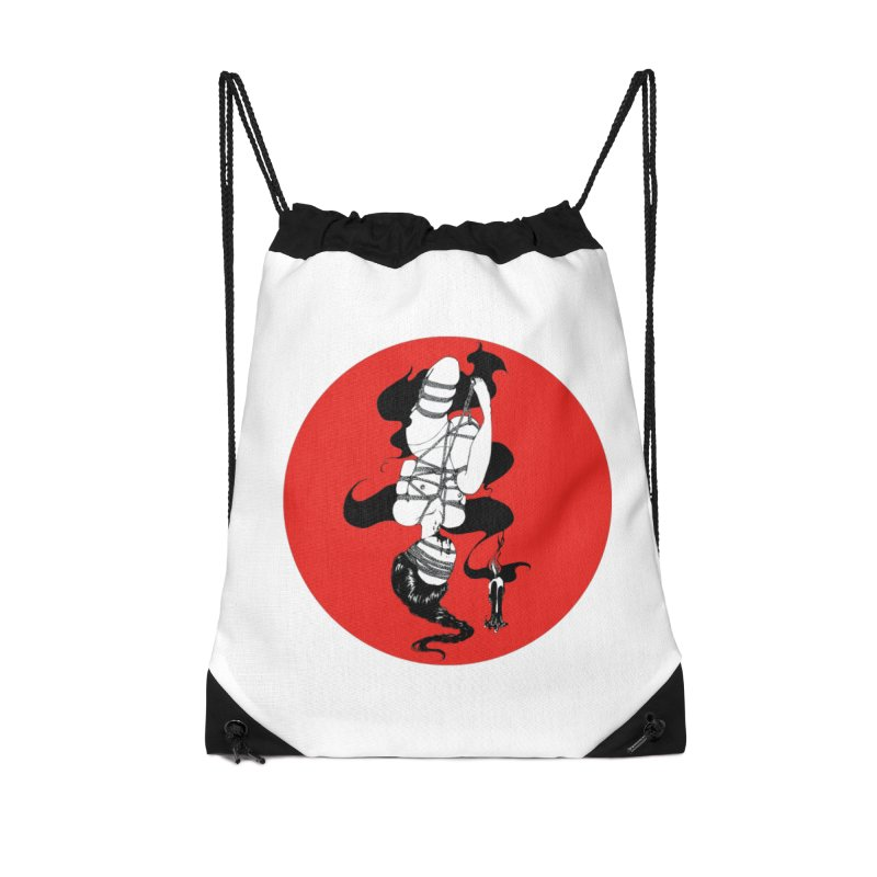 human with red Accessories Drawstring Bag Bag by FredRx's Artist Shop