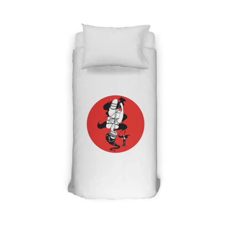 human with red Home Duvet by FredRx's Artist Shop