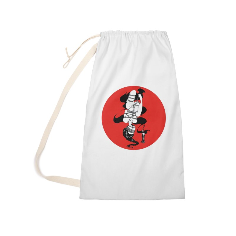 human with red Accessories Laundry Bag Bag by FredRx's Artist Shop